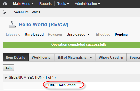 PLM - Selenium - Parts Hello World
